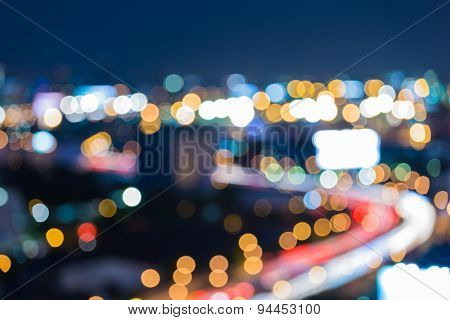 Blur of city road curve at night
