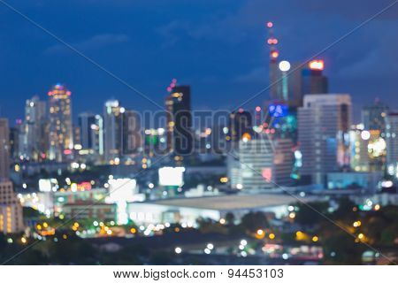 Abstract blur bokeh of city lights night view