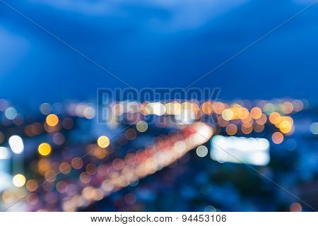 Abstract blur bokeh of city highway during twilight