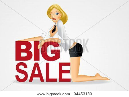 business woman sitting on her lap with big sale text