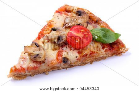 Slice of tasty pizza with vegetables and basil isolated on white