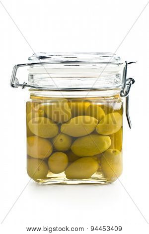 the pickled green olives in jar