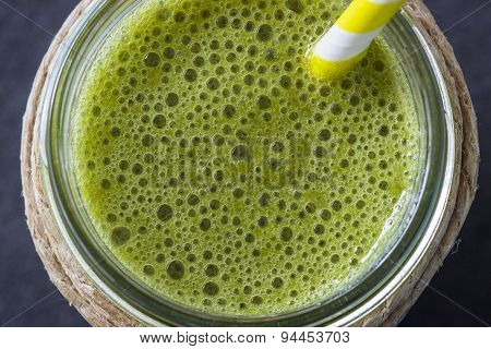 Blended Green Smoothie With Ingredients