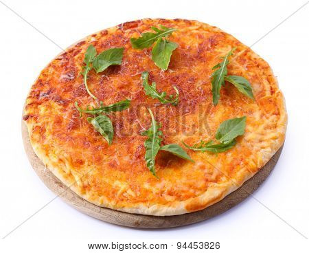 Cheese pizza with herbs isolated on white