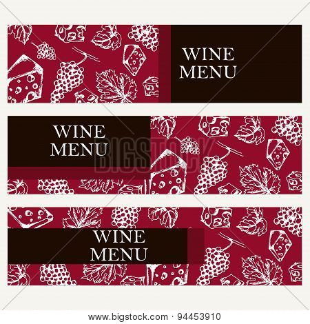 Set Of Banners For Business. Wine Menu. Restaurant Theme. Vector Illustration.