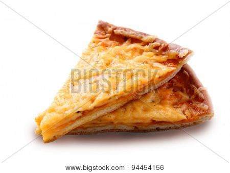 Slices of tasty cheese pizza isolated on white
