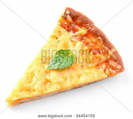 Slice of tasty cheese pizza with basil isolated on white