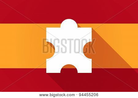 Spain  Long Shadow Flag With A Puzzle Piece