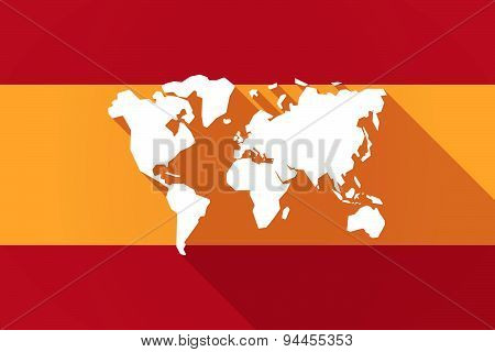 Spain Long Shadow Flag With A World Map