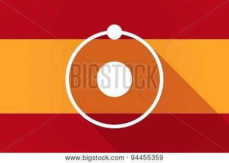 Spain Long Shadow Flag With An Atom