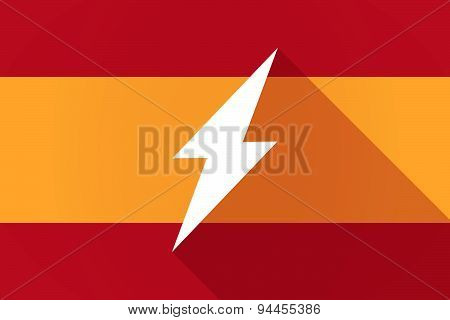 Spain Long Shadow Flag With A Lightning