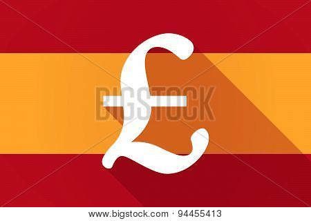 Spain  Long Shadow Flag With A Pound Sign