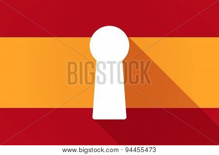 Spain Long Shadow Flag With A Key