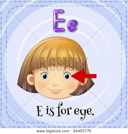 Flashcard letter E is for eye