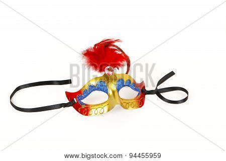 Venetian Mask With Red Feather And Ribbon