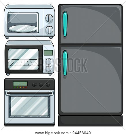 Set of electric equipments in the kitchen