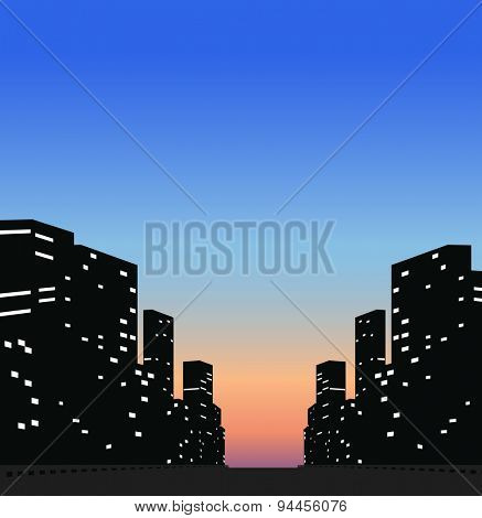 Silhouette business buildings in the city