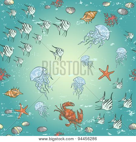 Coral reef sea life background,