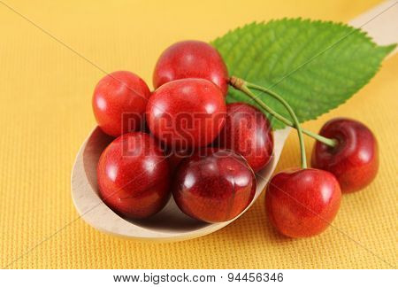 Abstract View Cherry In A Wooden Spoon