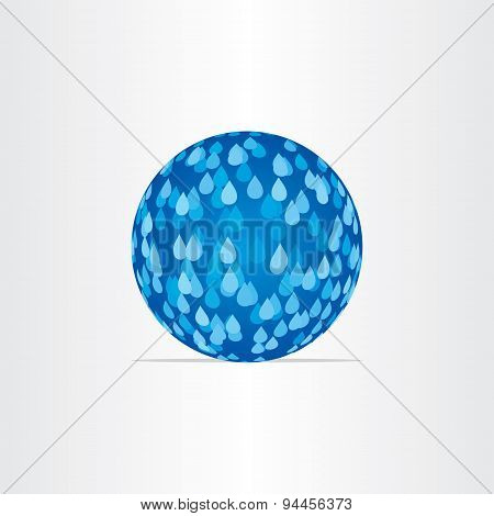 Blue Abstract Globe With Rain Drops