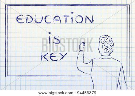 Teacher Writing On Blakboard: Education Is Key
