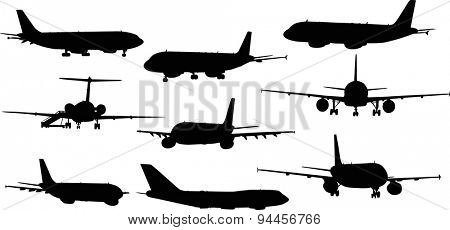 illustration with nine airplanes silhouettes isolated on white background