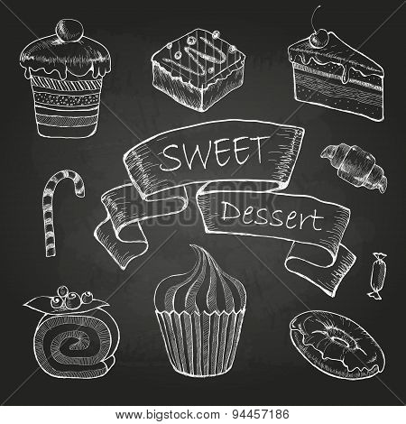 Chalk Drawing. Set Of Cakes