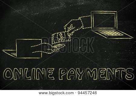 Hands Exchanging Money, Concept Of Selling And Buying Online