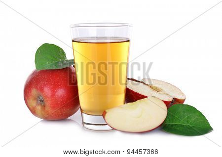 Glass of apple juice with red apples isolated on white