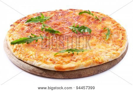 Cheese pizza with arugula isolated on white