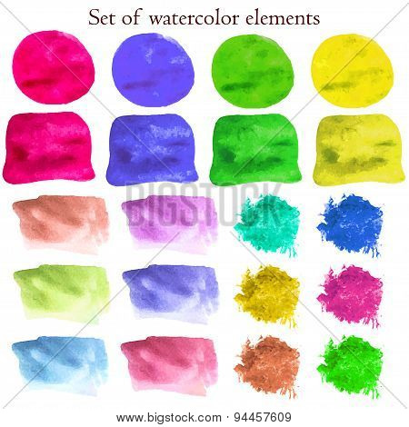 Collection Of Watercolor Design Elements On Different Colors. Vector