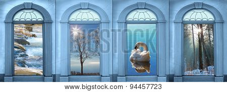 Four Archways With View To Landscape, Blue Toned