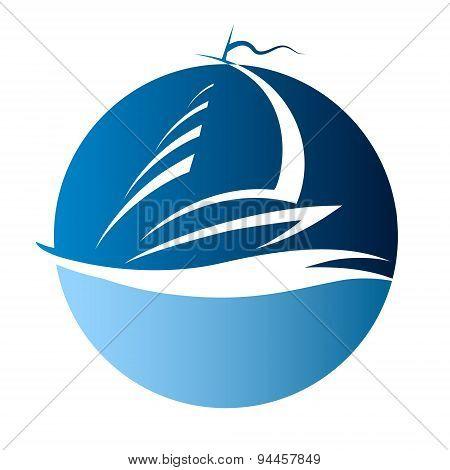 Yacht on waves vector