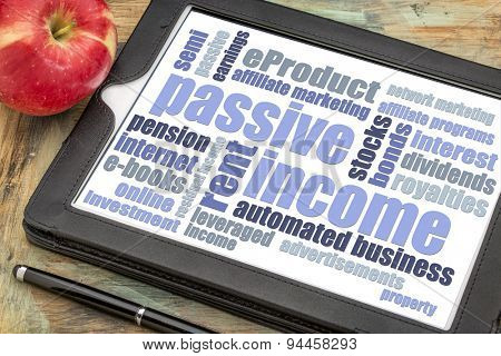 passive income word cloud  on a digital tablet with a red apple