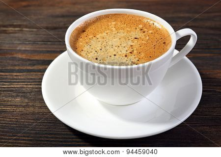 Cups of coffee on table close up
