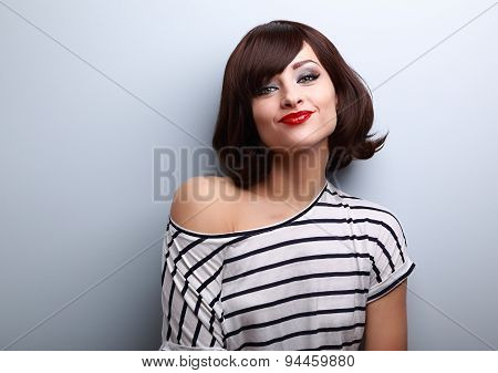 Funny Young Woman Grimacing With Short Black Hair Style