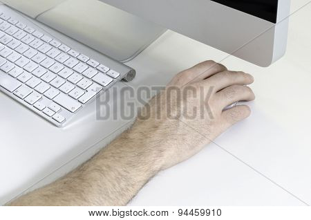 Hand, Computer And Wireless Keyboard.