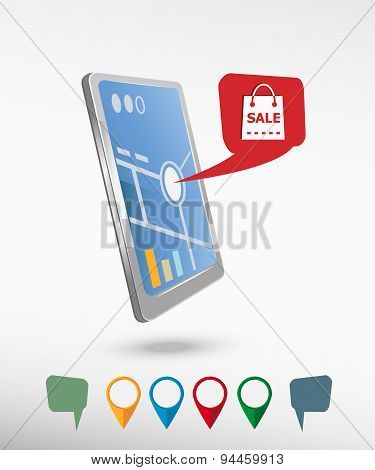 Sale Shopping Bag And Perspective Smartphone Vector Realistic