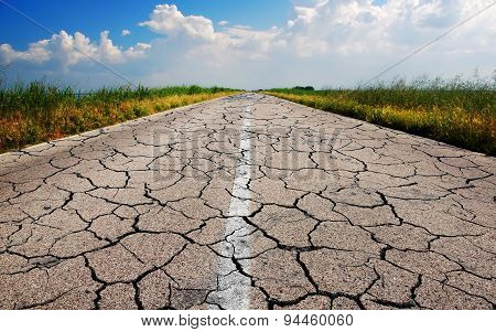 Old Road With Many Crack