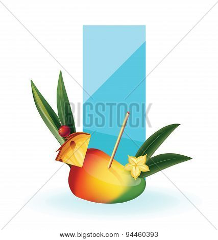 slice of exotic fruit decorated like cocktail