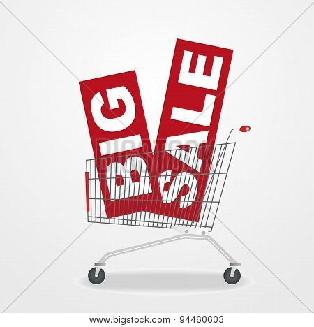 shopping cart with sale banners