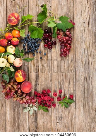 Frame Of Fresh Colorful Fruits, Above View