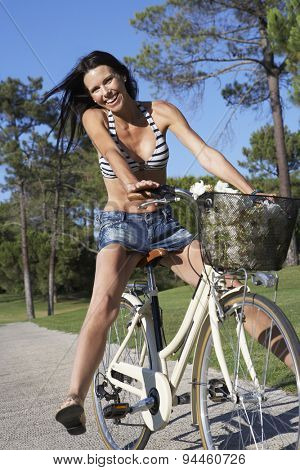 Woman Enjoying Cycle Ride