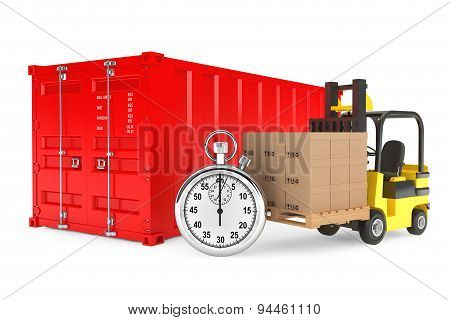 Transportation Concept. Forklift With Cardboard Boxes And Stopwatch Near Shipping Container