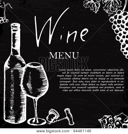 Wine Menu. Retro Card Or Flyer. Restaurant Theme. Vector Illustration.
