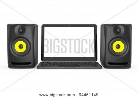 Audio Speakers With Laptop. 3D Rendering