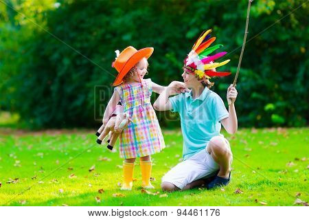 Kids Playing In Halloween Costumes