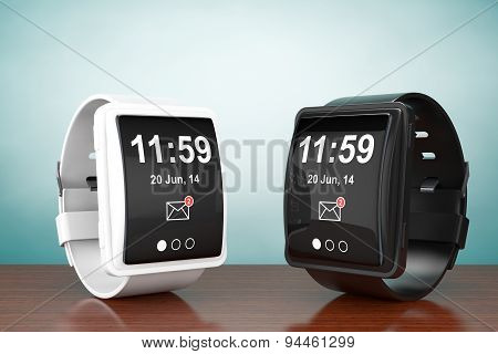 Old Style Photo. Big Conceptual Smart Watches