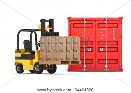 Transportation Concept. Forklift With Cardboard Boxes Near Shipping Container