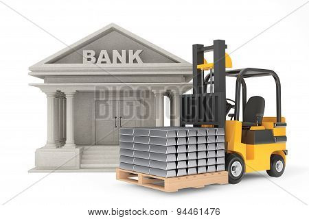 Forklift Truck With Stacked Silver Bars Near Bank Building